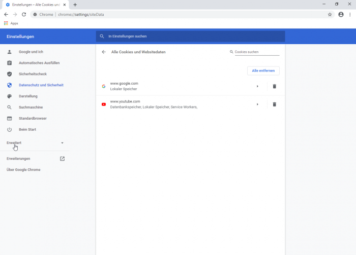 Die Webseitendaten von Youtube.com sowie ein Cookie von Google.com sind nach einem Neustart immer noch da - alle anderen Daten wurden gelöscht. (Screenshot: Golem.de)