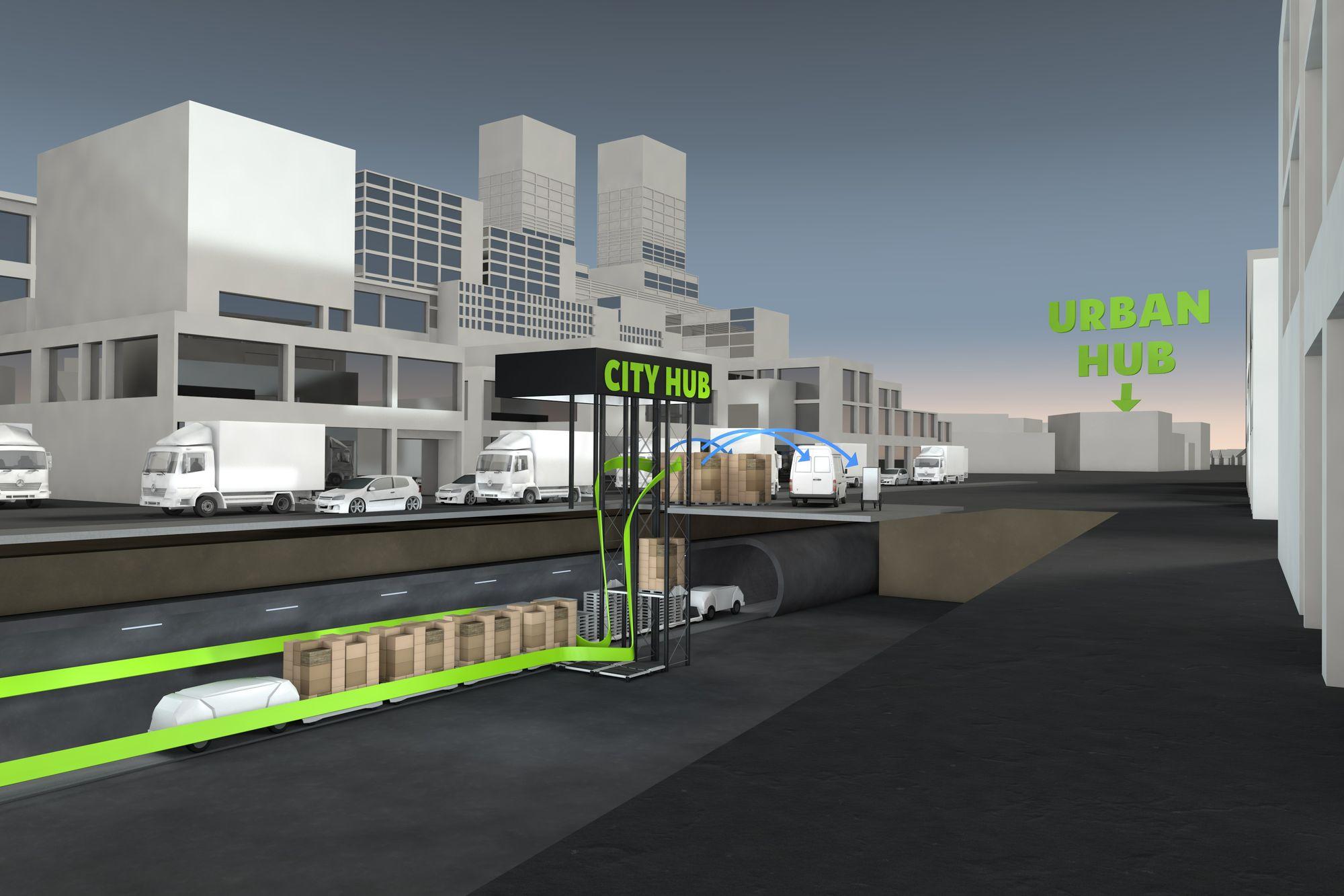 Logistik: Hamburg bekommt eine Röhre für autonome Warentransporte - In der Stadt werden die Waren auf kleine Lieferfahrzeuge wie Pedelecs umgeladen. (Bild: Smart City Loop)