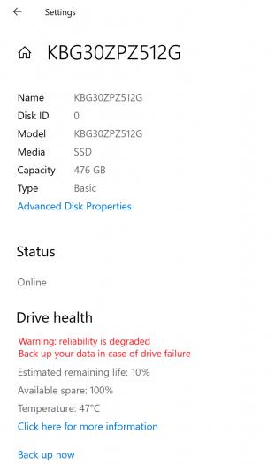 Windows 10 analysiert SSDs. (Bild: Microsoft)