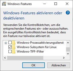 In der Anwendung Windows-Features lässt sich WSL aktivieren. (Screenshot: Dirk Koller)