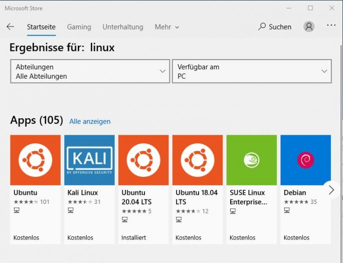 Der Microsoft Store listet verschiedene Linux-Distributionen. (Screenshot: Dirk Koller)