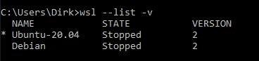 Die Ausgabe von wsl -l verschafft einen Überblick über installierte Distributionen. (Screenshot: Dirk Koller)