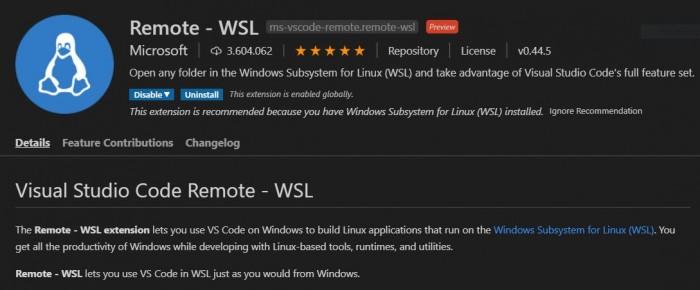 Die Remote-WSL-Erweiterung (Screenshot: Dirk Koller)