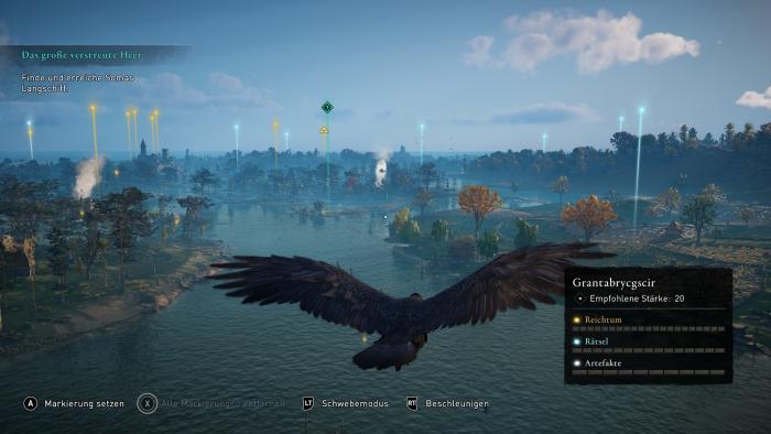 Mit unserem Raben erkunden wir die Umgebung. (Bild: Ubisoft/Screenshot: Golem.de)