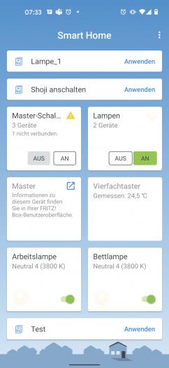 Die Fritz-Smarthome-App ordnet Elemente in Kacheln an. (Bild: Oliver Nickel/Golem.de)