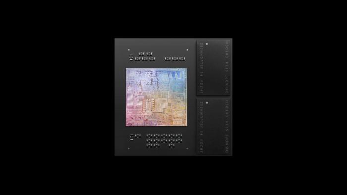 Der M1 samt zwei LPDDR4X-Chips auf einem Package (Bild: Apple)