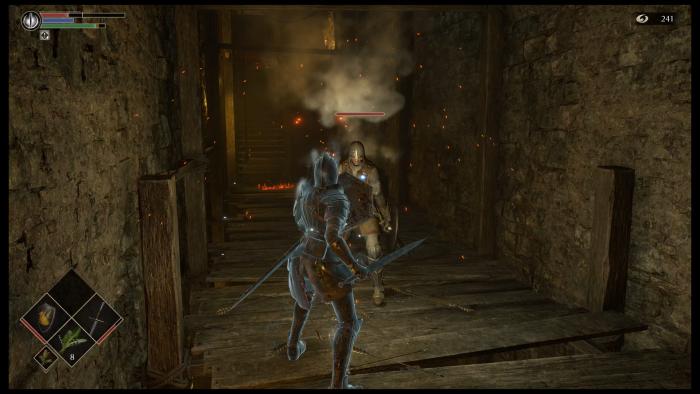 Einer der frühen und selbst für Souls-Verhältnisse einfachen Gegner. (Bild: Sony/Screenshot: Golem.de)