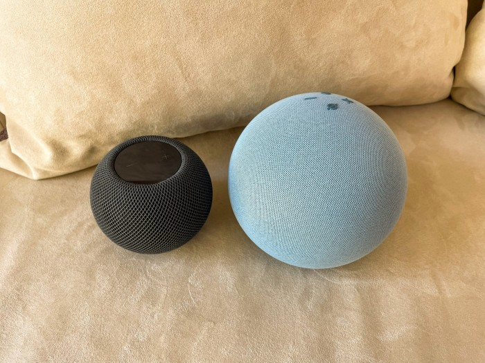 Größenvergleich Homepod Mini und Echo 4 (Bild: Ingo Pakalski/Golem.de)