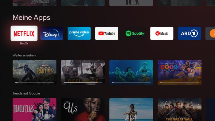 Im Weiterschauenbereich von Google TV fehlen Inhalte von Prime Video, Googles eigenem Dienst und allen Mediatheken (Bild: Google/ Screenshot: Golem.de)