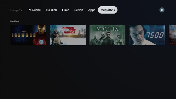 Watchlist von Google TV (Bild: Google/ Screenshot: Golem.de)