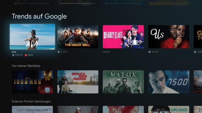 Auf Google TV werden Aboinhalte mit Leih- und Kauftiteln vermischt. (Bild: Google/ Screenshot: Golem.de)