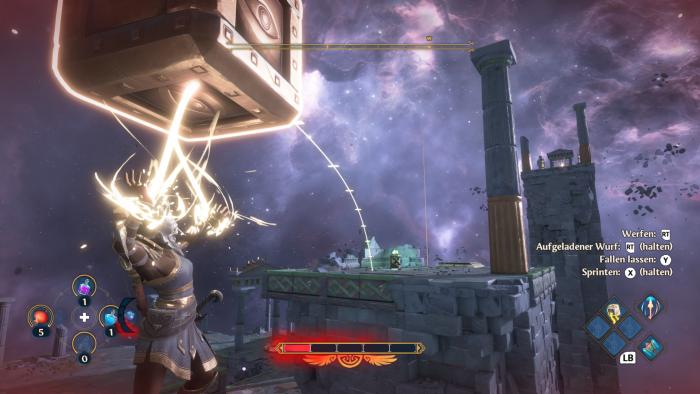 In einem der Gewölbe müssen wir Kisten von Plattform zu Plattform werfen. (Bild: Ubisoft/Screenshot: Golem.de)