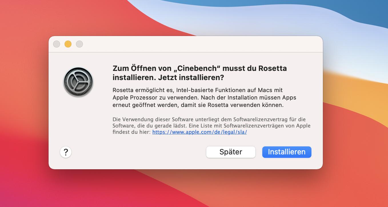 Macbook Air mit Apple Silicon im Test: Das beste Macbook braucht kein Intel - Die Rosetta-Engine muss vor dem ersten Benutzen installiert werden. (Bild: Martin Wolf/Golem.de)