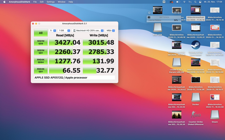 Macbook Air mit Apple Silicon im Test: Das beste Macbook braucht kein Intel - Schnelle SSD (Bild: Martin Wolf/Golem.de)