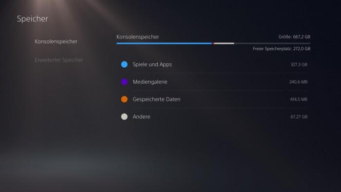 Die Übersicht des belegten und noch freien PS5-Massenspeichers. (Bild: Sony/Screenshot: Golem.de)