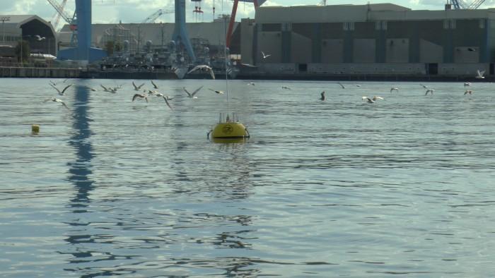 Gatewayboje beim Test in Kiel: Sie dient als Schnittstelle zwischen der Kommunikation über und unter Wasser. (Bild: Tommy Kohlsdorf/WTD 71)