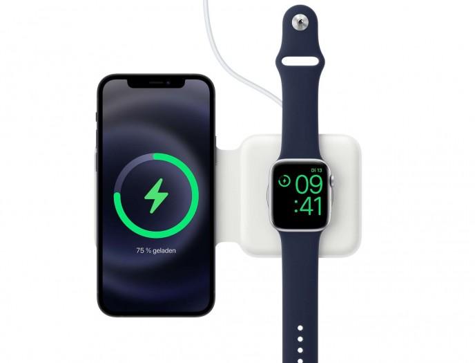Mit dem Magsafe Duo lassen sich ein iPhone und eine Apple Watch gleichzeitig drahtlos laden. (Bild: Apple/Screenshot: Golem.de)