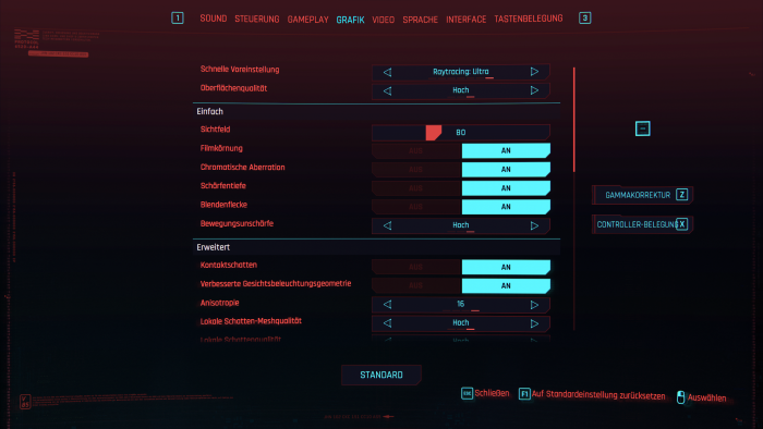Grafikmenü von Cyberpunk 2077 (Rechteinhaber: CDPR, Screenshot: Golem.de)