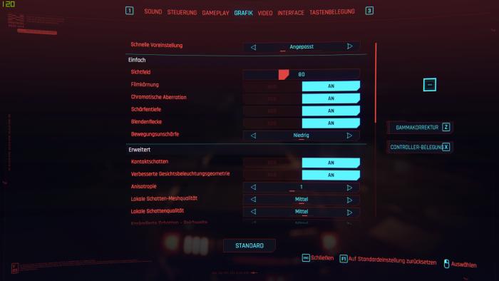 Das PC-Grafikmenü lässt umfangreiche Anpassungen zu. (Bild: CD Projekt Red / Screenshot: Golem.de)