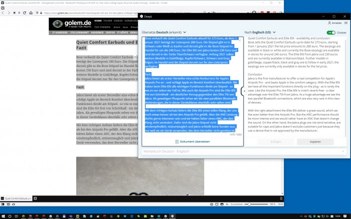 Hier übersetzt DeepL Text einer Webseite ins Englische. (Screenshot: Golem.de)