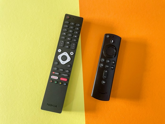 Links die Fernbedienung der Streaming Box 8000, rechts daneben die Fernbedienung des Fire TV Cube (Bild: Ingo Pakalski/Golem.de)