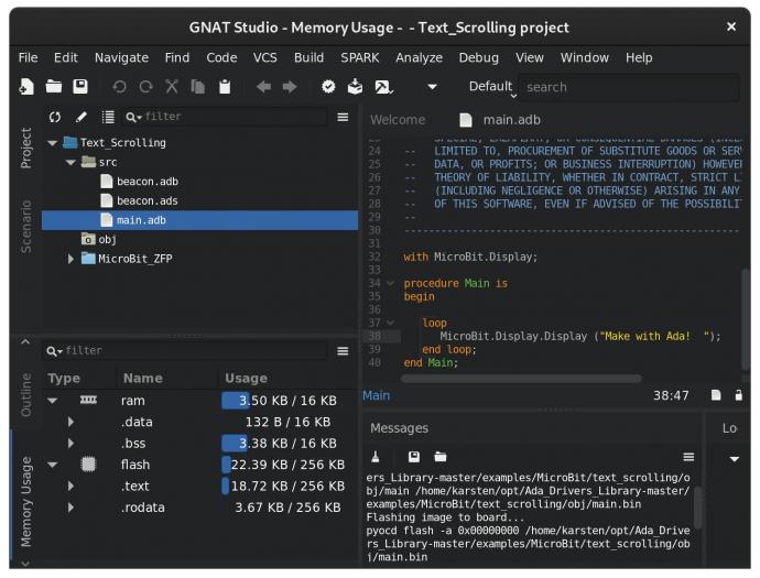 Die Ada-Entwicklungsumgebung GNAT Studio (Screenshot: Karsten Lüth)