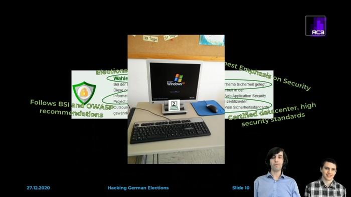 Selbst ein Windows-XP-Rechner sollte Johannes Obermaier (l.) und Tobias Madl bei der Stimmenauswertung helfen. (Foto: RC3/Screenshot: Golem.de)