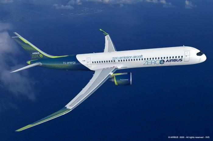 Der Turbofan von Airbus ist eines von drei möglichen Wasserstoff-Flugzeugen, die Airbus kürzlich vorgestellt hat. Bis er gebaut wird, dürfte es aber noch lange Zeit dauern. (Bild: Airbus)