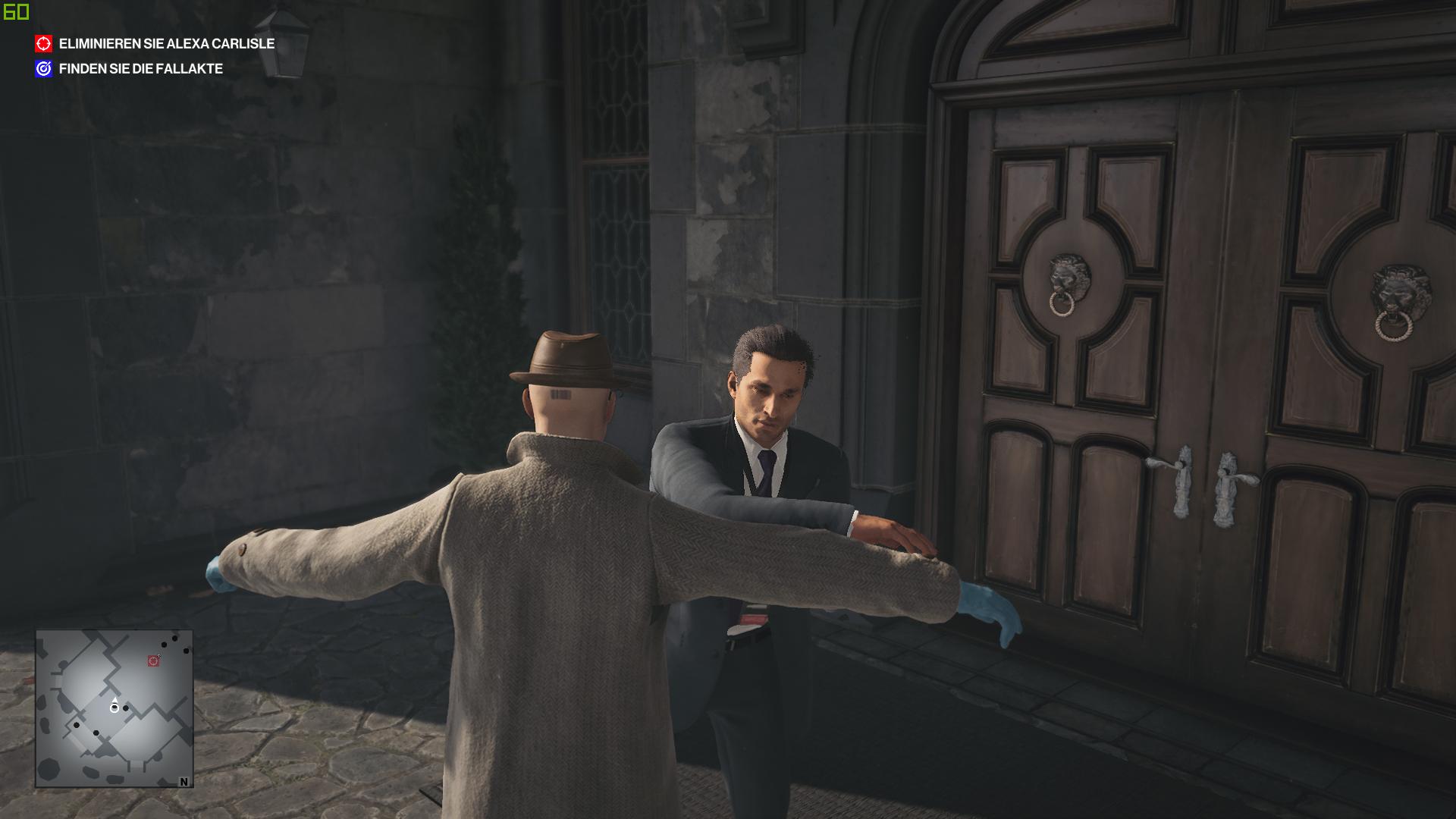 Hitman 3 im Test: Agent 47 verabschiedet sich mörderisch - Wir werden durchsucht - und haben hoffentlich vorher unsere Waffe versteckt. (Bild: IO Interactive/Screenshot: Golem.de)