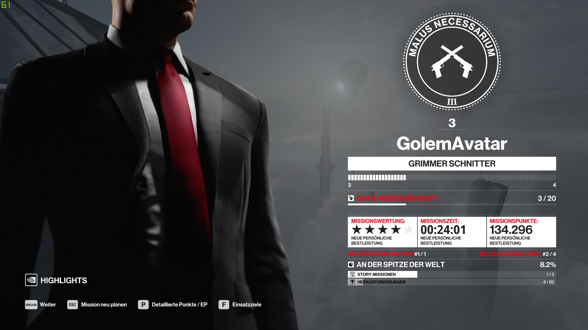Hitman 3 im Test: Agent 47 verabschiedet sich mörderisch - Nach dem Abschluss der Mission erfolgt eine Auswertung. (Bild: IO Interactive/Screenshot: Golem.de)