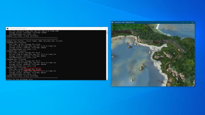 Island-Flyby von Crysis in 800 x 600 bei minimalen Details (Bild: Crytek, Screenshot: Golem.de)