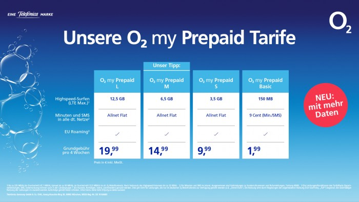 Neue O2-Prepaid-Tarife gelten ab 2. Februar 2021 (Bild: Telefónica)