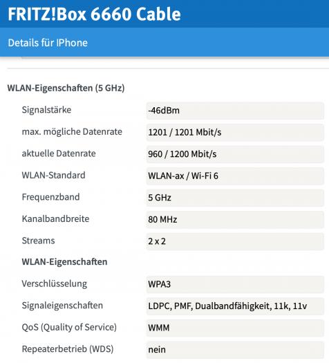 Dank Wi-Fi 6 kommunizieren Fritzbox und iPhone mit nahezu Gigabit-Speed. (Screenshot: Jan Rähm)