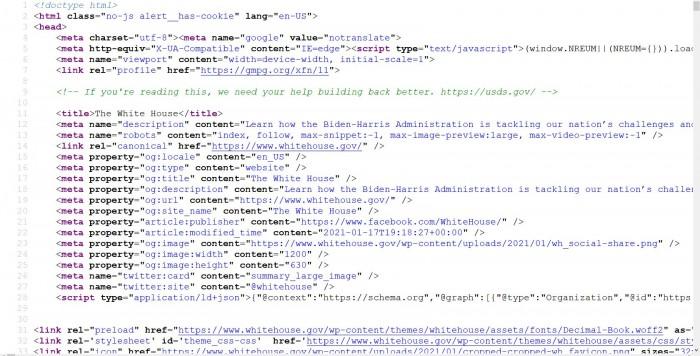 Stellenanzeige im Quelltext versteckt. (Whitehouse.gov/Screenshot: Golem.de)