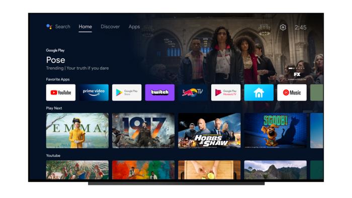 Der Startbildschirm nach dem Android-TV-Update vom Februar 2021 (Bild: Google)