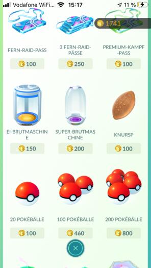 Zugekaufte Items machen das Spielen angenehmer. (Bild: Niantic / Screenshot: Golem.de)