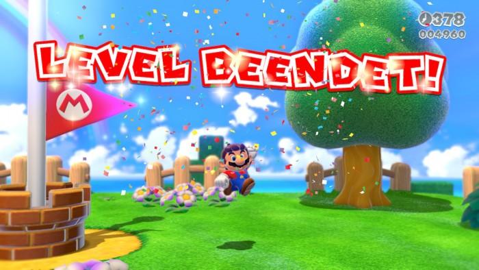 Super Mario 3D World: An der Fahne ist der Abschnitt geschafft. (Bild: Nintendo/Screenshot: Golem.de)