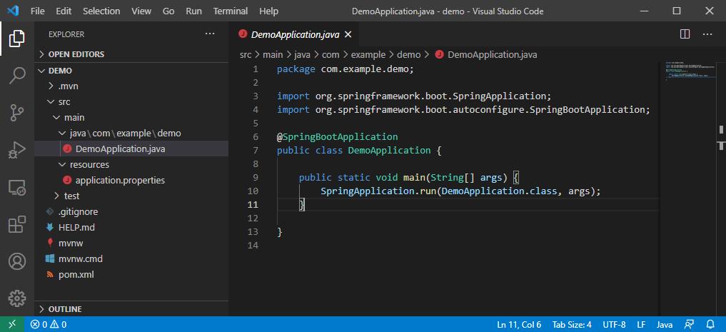 Software-Entwicklung: Spring Boot meets Visual Studio Code - Das generierte Projekt in Visual Studio Code (Screenshot: Dirk Koller)