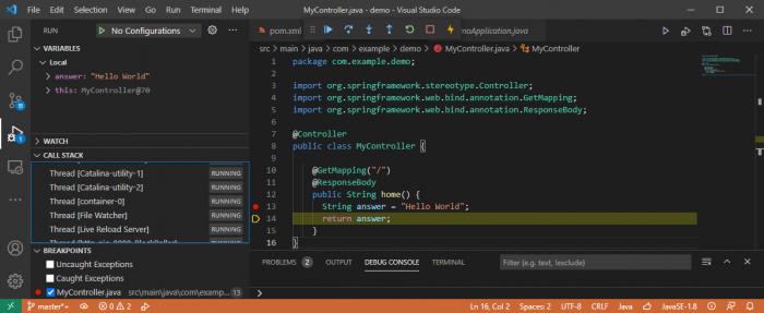 Debugging einer Spring-Boot-Anwendung mit VS Code (Screenshot: Dirk Koller)