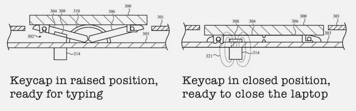 Patent für magnetisch ausfahrende Tastenkappen (Bild: Apple)