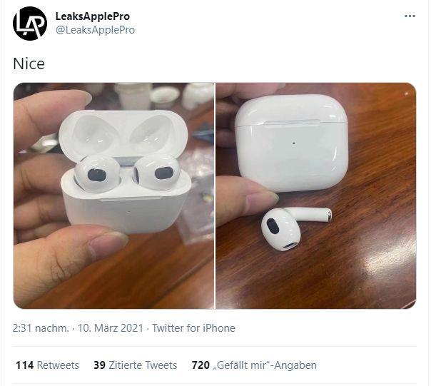 Apple: Verschiedene Fotos zeigen mögliche Airpods 3 - Die Fotos sollen die Airpods 3 von Apple zeigen (Screenshot: Golem.de)