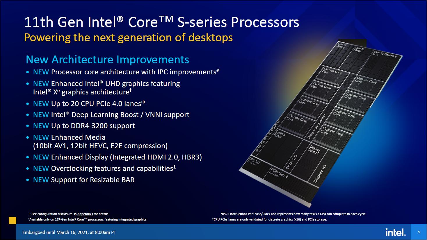 11th Gen Core: Das kann Intels Rocket Lake - RKL-S hat acht Kerne, eine Xe-iGPU mit 32 EUs und 20 PCIe Gen4 Lanes. (Bild: Intel)