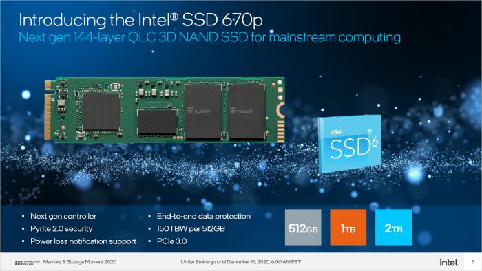 SSD 670p mit 144L-QLC-Speicher (Bild: Intel)