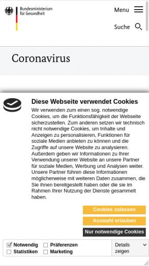 Die Webseite des Bundesgesundheitsministeriums zu Corona-Regeln will gerne Tracking-Cookies setzen. (Screenshot: Golem.de)