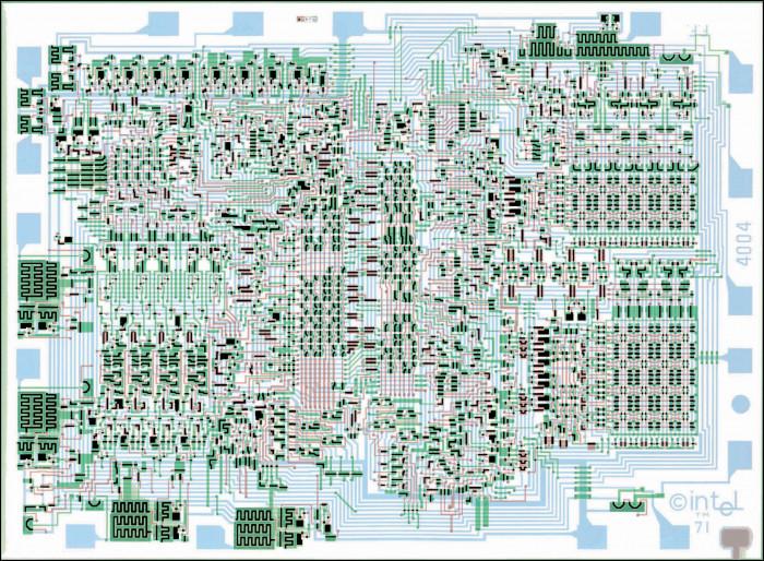 Die Schablone für den 4004-Mikroprozessor. (Bild: Intel)