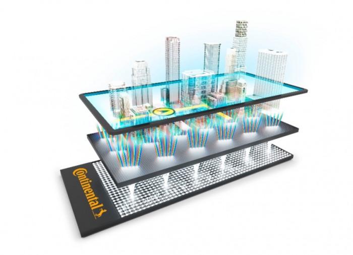 Der 3D-Effekt entsteht durch eine spezielle Methode, bei der das Licht durch einen Bildschirm gebeugt wird.