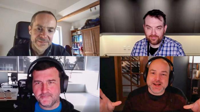 Das Interview haben wir per Videokonferenzsystem geführt. Rechts oben Philippe Boulle, links unten Quinn Duffy und rechts unten Adam Isgreen. (Screenshot: Golem.de)