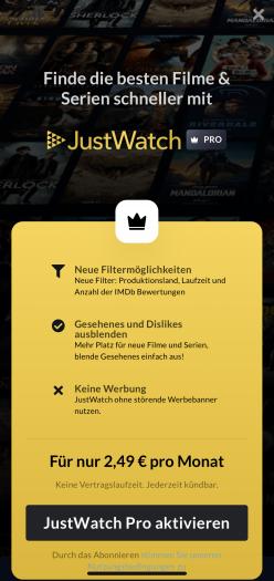 Infobildschirm zu Justwatch Pro nennt Vorzüge einer Abobuchung (Bild: Justwatch)