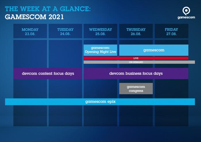 Zeitplan der Gamescom 2021 (Grafik: Koelnmesse)