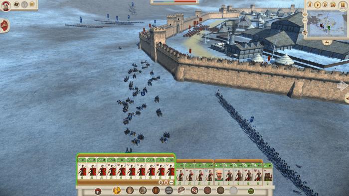 Wie freundlich: Der feindliche General stellt sich direkt unter unsere Mauern. Feuer frei.